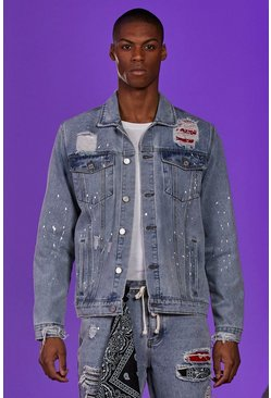 Pale blue Paint Splatted Denim Jacket With Bandana