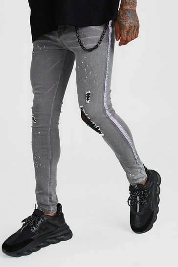 Grey Super Skinny Reflective Tape Jean With Chain