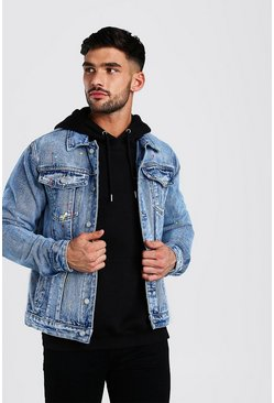 Washed blue Washed Denim Jacket With Paint Splatter