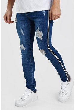 Mid blue Super Skinny Ripped Jeans With Tape