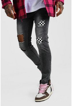 Charcoal Skinny Checkerboard Rip & Repair Jeans