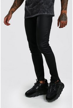 Jeans super skinny rivestiti in PU, Nero