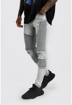 Grey Super Skinny Biker Jeans With Busted Knees