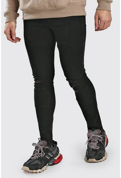 Black Super Skinny Biker Jeans With Busted Knees