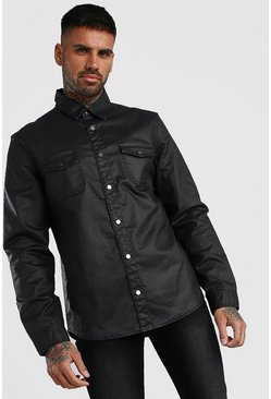 Camicia denim rivestita in PU, Nero