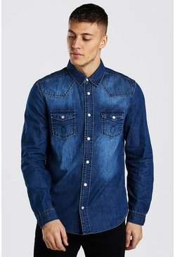 Dark blue Western Detail Denim Shirt