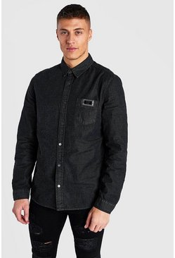 MAN Metal Tab Denim Shirt, Black