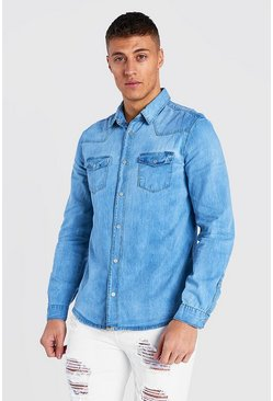 Blue Washed Denim Shirt With Bleach Splat & Distressing