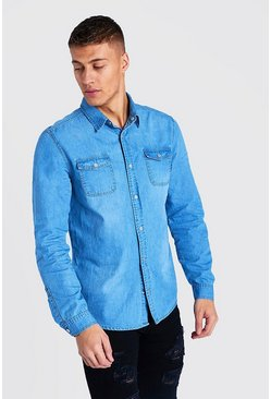 Light blue Washed Denim Shirt