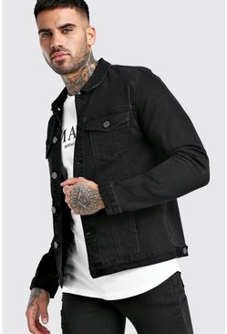 Muscle Fit Denim-Jacke, Schwarz
