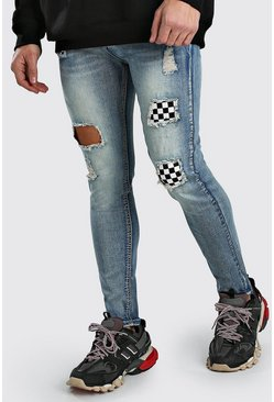 Blue Skinny Checkerboard Rip & Repair Jeans