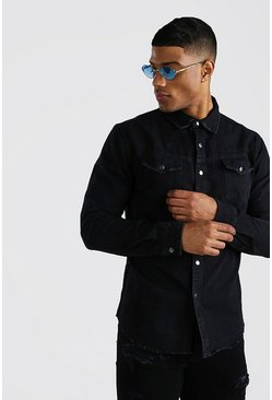 Washed black Stitch Detail Denim Shirt