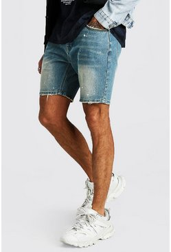 Mid wash Skinny Denim Short With Paint Splatter