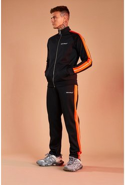 Black MAN Official Funnel Neck Tricot Tracksuit