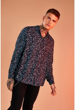 Black Repeat Leopard Print Shirt