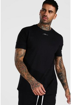 Black MAN Signature Embroidered Neck T-Shirt