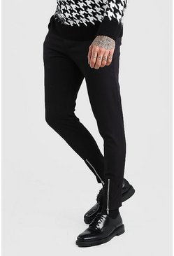 Black Super Skinny Stretch Smart Pants With Zip Detail