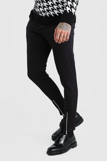 Black Super Skinny Stretch Smart Trousers With Zip Detail