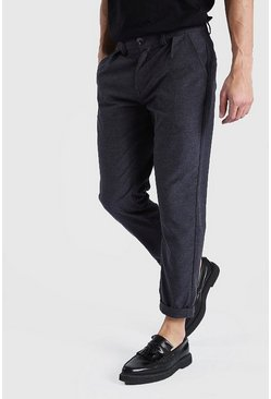 Charcoal Skinny Wool Cropped Pants