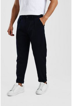 Navy Skinny Wool Look Cropped Pants