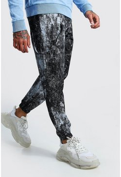 Black Paint Print Trouser With Straps