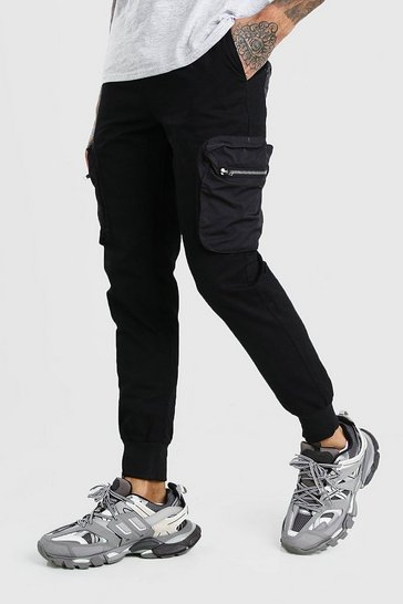 Black Skinny Cargo Trousers With Nylon Pockets