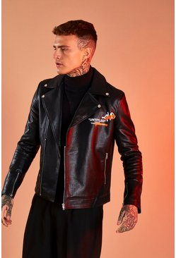 Black Leather Look Printed Biker Jacket