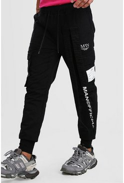 Black MAN Print Tapered Cargo Trouser