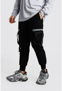 Black Woven Jogger With Pocket Tape