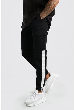 Black Cotton Jogger With Tape Trim Pants