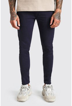 Pantalons chino super stretch skinny, Marine