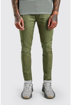 Khaki Superstretchiga chinos i skinny fit