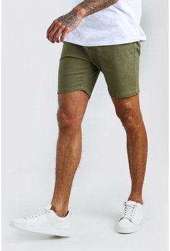 Khaki Skinny Stretch Chino Shorts
