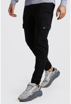 Black Slim Cuff Cargo Trouser