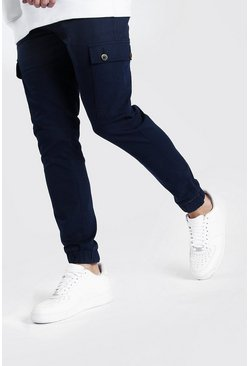 Navy Slim Cuff Cargo Pants