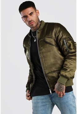 Smart Padded MA1 Bomber Jacket, Khaki