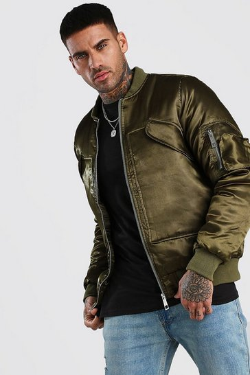 Khaki Smart Padded MA1 Bomber Jacket