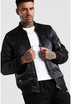 Black Smart Padded MA1 Bomber Jacket