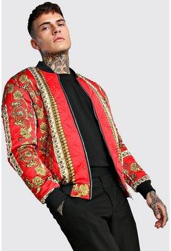 Red Baroque Printed Quilted Bomber Jacket