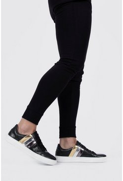 Black Metallic Stripe Side Trainer