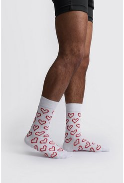 White Valentines Pixelated Heart Socks