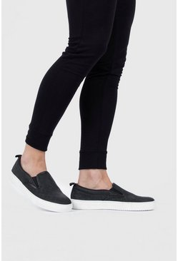 Black Emboss Slip On Sneaker