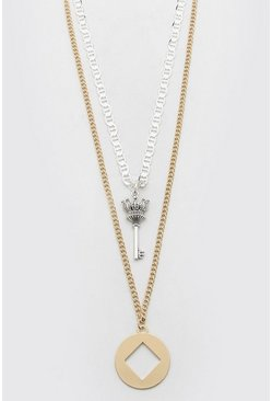 Multi Double Layer Pendant Necklace