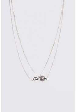 Silver Ball Pendant Necklace
