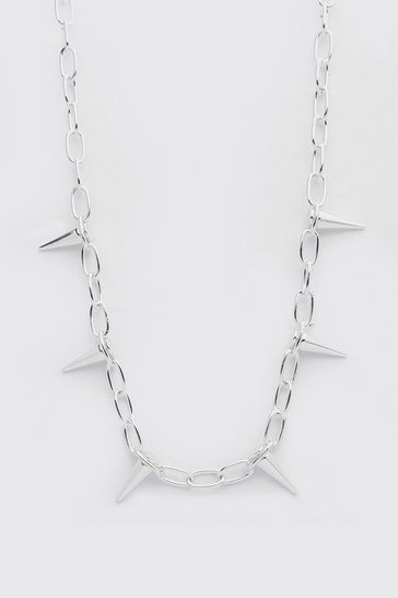 Silver Spike Chain Necklace