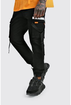 Black Reflective Trim cotton Cargo Trouser