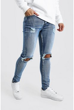 Super Skinny Bleached Jeans With Busted Knees, Blue