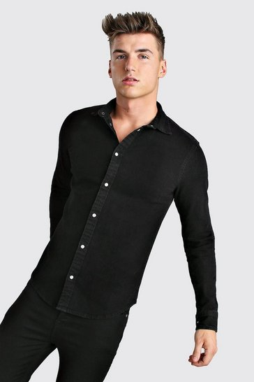 Black Long Sleeve Muscle Fit Denim Shirt