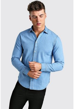 Pale blue Long Sleeve Muscle Fit Denim Shirt