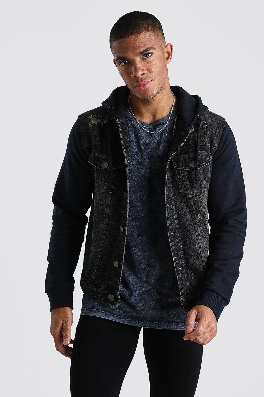mens distressed jean jacket with jersey hood - black